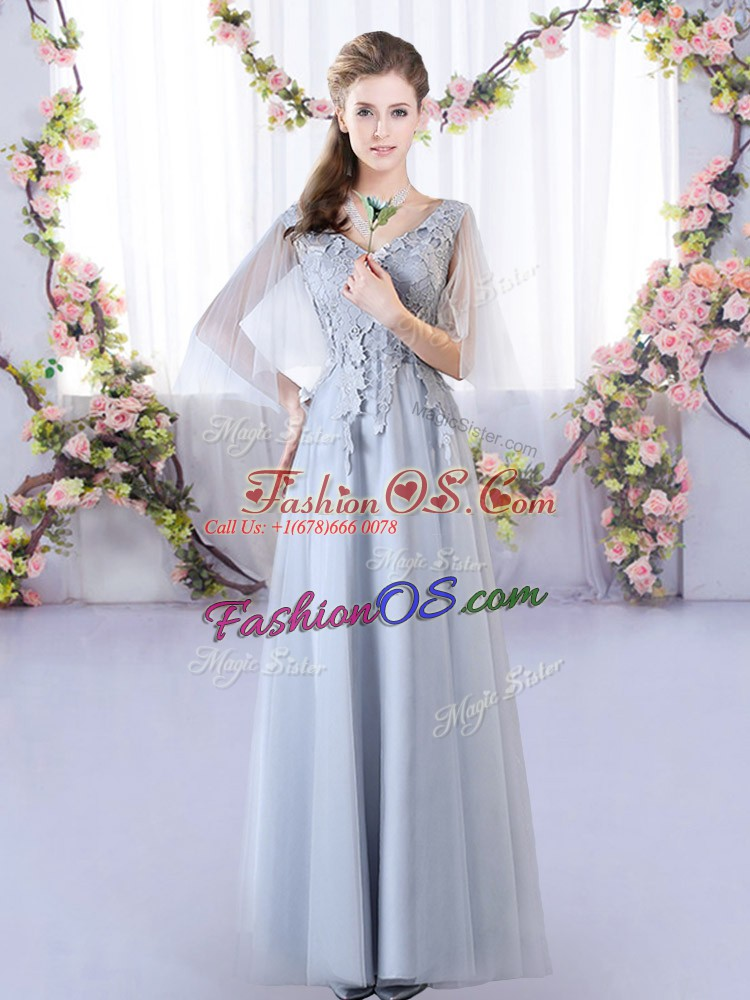 Grey Dama Dress Prom and Party and Wedding Party with Appliques V-neck Sleeveless Lace Up