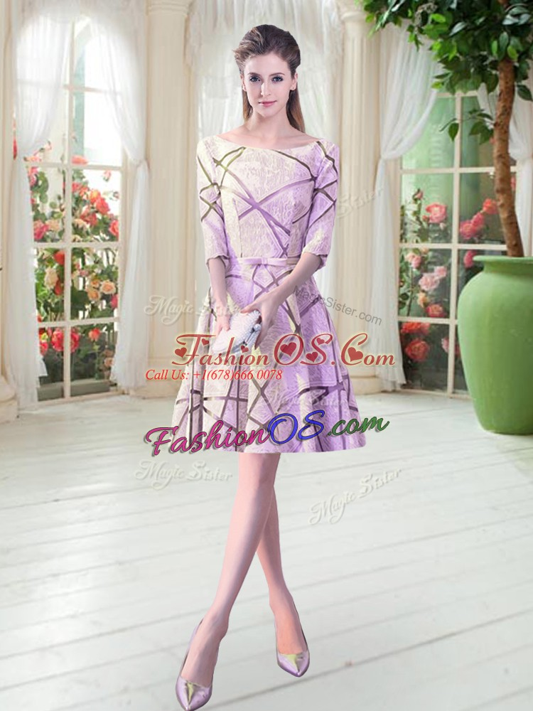 Sexy Scoop Half Sleeves Lace Up Ruching Prom Dresses in Lilac