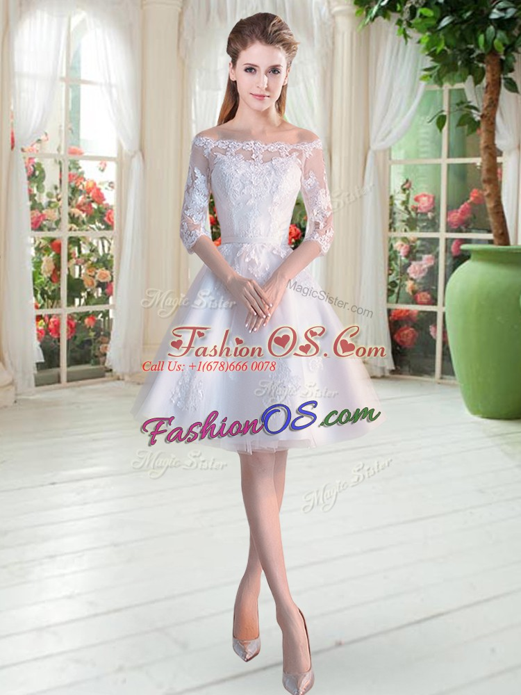 Knee Length White Dress for Prom Off The Shoulder Half Sleeves Lace Up