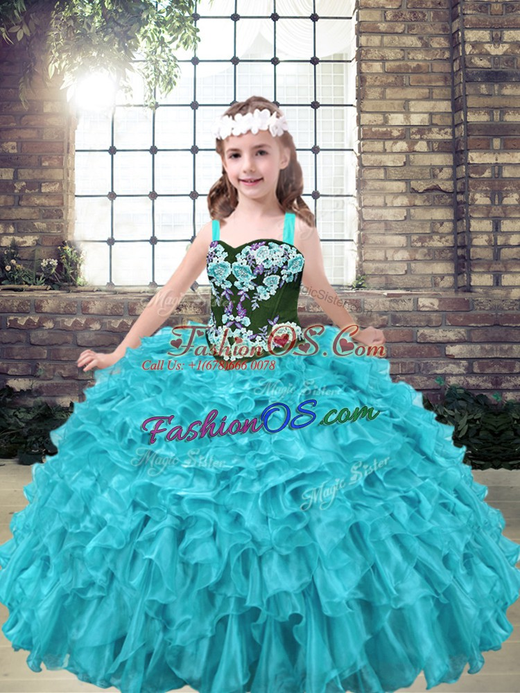 Discount Aqua Blue and Turquoise Sleeveless Organza Lace Up Little Girls Pageant Gowns for Party and Wedding Party