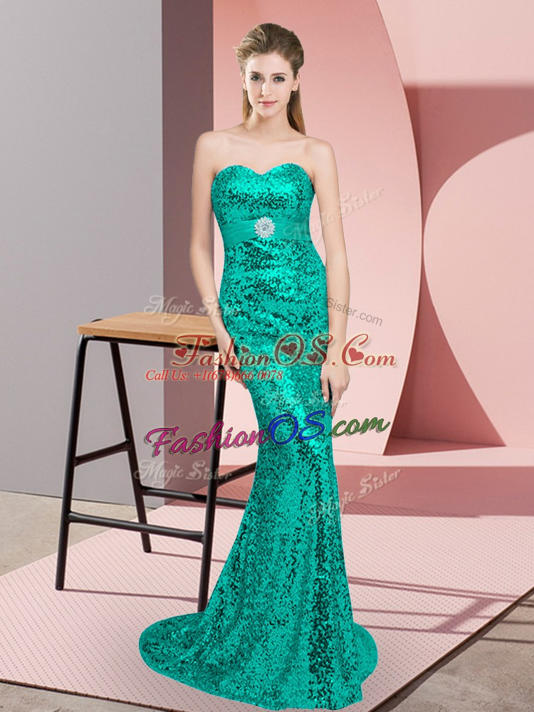 Artistic Sleeveless Sequined Sweep Train Lace Up Prom Evening Gown in Turquoise with Beading