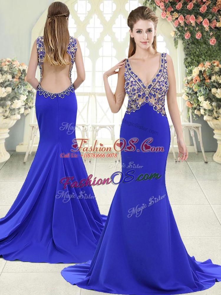 V-neck Sleeveless Prom Gown Sweep Train Beading Blue Elastic Woven Satin