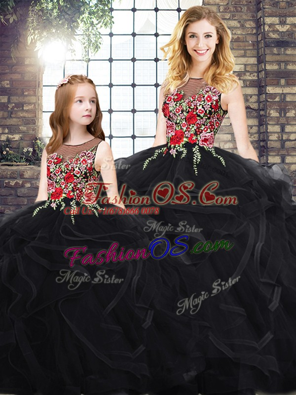Trendy Black Scoop Neckline Embroidery and Ruffles Sweet 16 Dresses Sleeveless Zipper