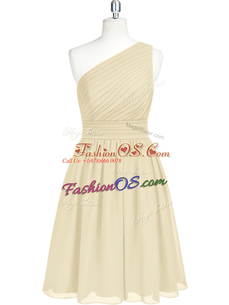 Champagne Zipper One Shoulder Belt Prom Gown Chiffon Sleeveless