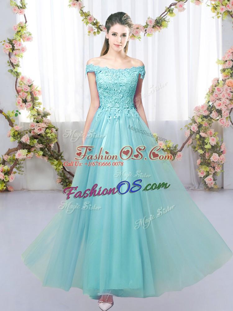 Aqua Blue Off The Shoulder Lace Up Lace Dama Dress Sleeveless