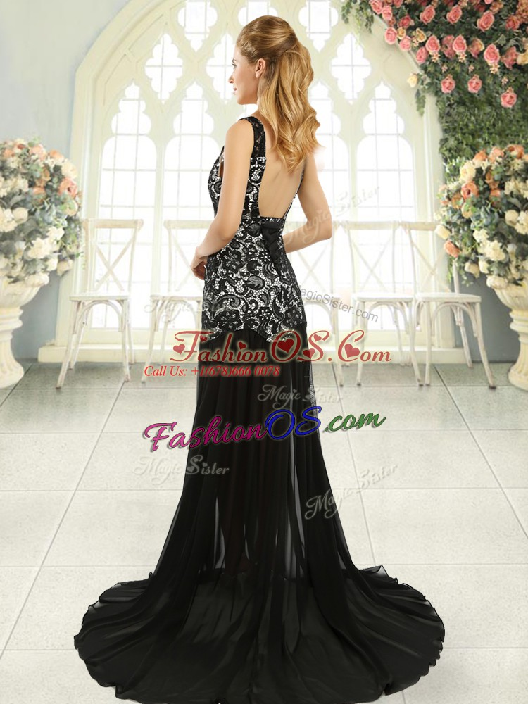 Luxury Navy Blue Scoop Backless Lace Evening Dress Brush Train Sleeveless
