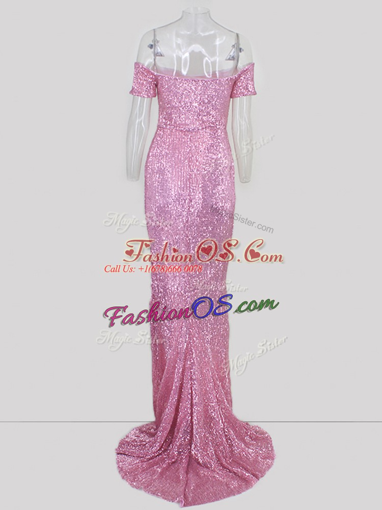 Amazing Off The Shoulder Short Sleeves Sweep Train Zipper Sequins Prom Party Dress in Pink