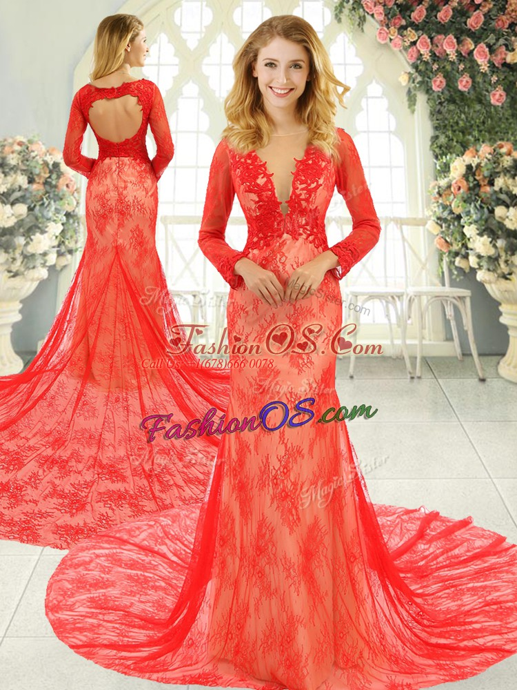 Gorgeous Red Long Sleeves Lace Backless Prom Dresses