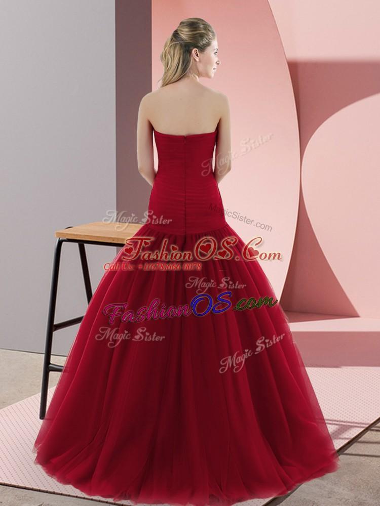 Super Floor Length Red Prom Dress Sweetheart Sleeveless Zipper