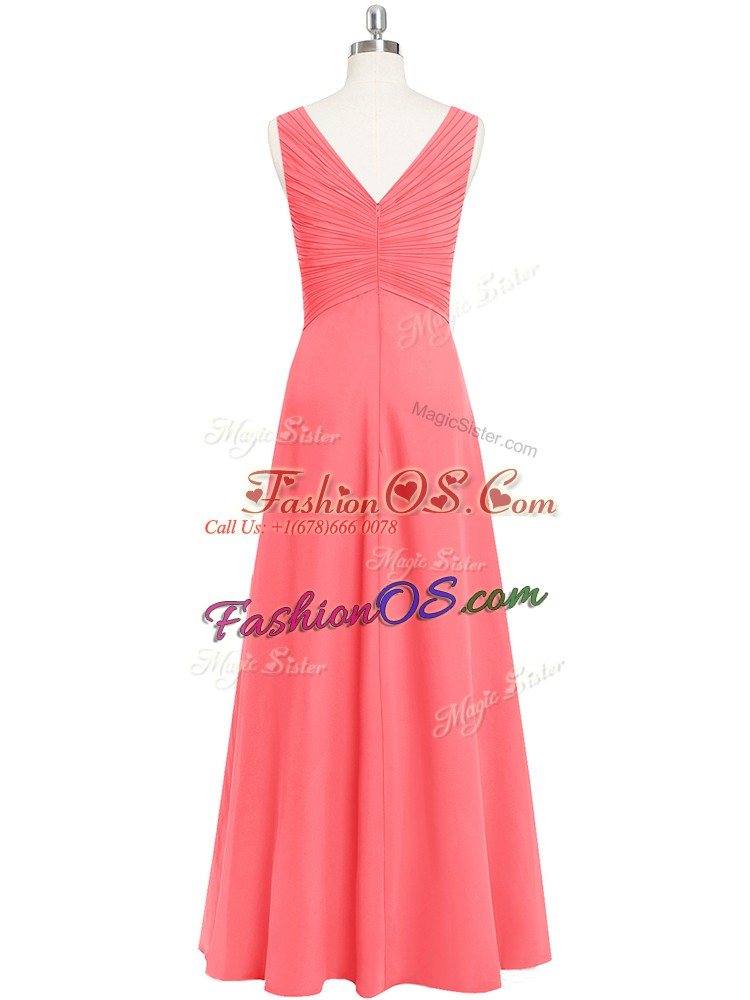 Enchanting Sleeveless Chiffon Floor Length Zipper Dress for Prom in Watermelon Red with Ruching