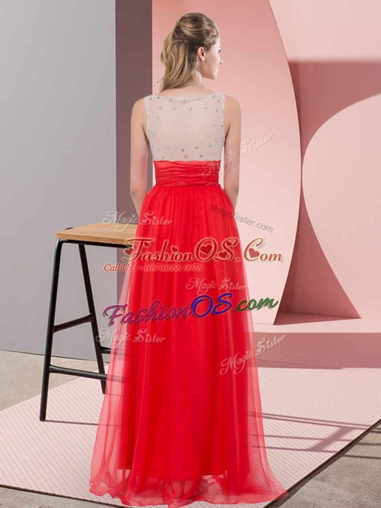 Sleeveless Chiffon Floor Length Side Zipper Prom Dresses in Fuchsia with Sequins