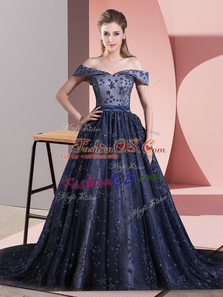 Fine Navy Blue Sleeveless Beading Lace Up