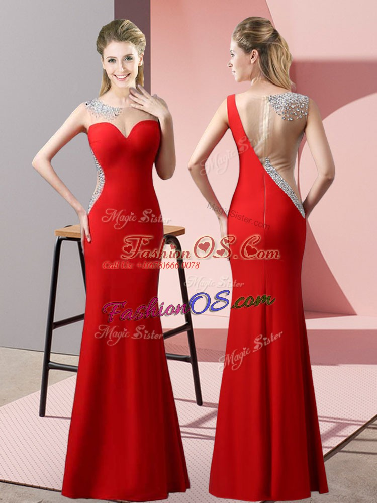 Red Sleeveless Beading and Pick Ups Floor Length Prom Dress