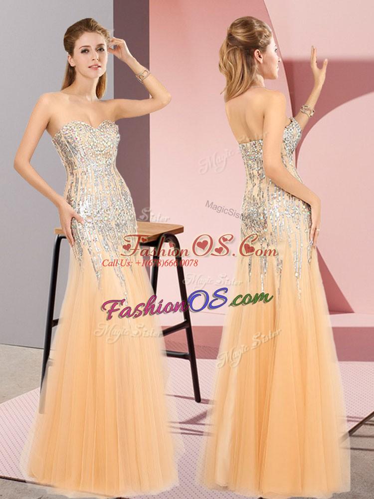 On Sale Orange Tulle Zipper Sweetheart Sleeveless Floor Length Prom Gown Beading