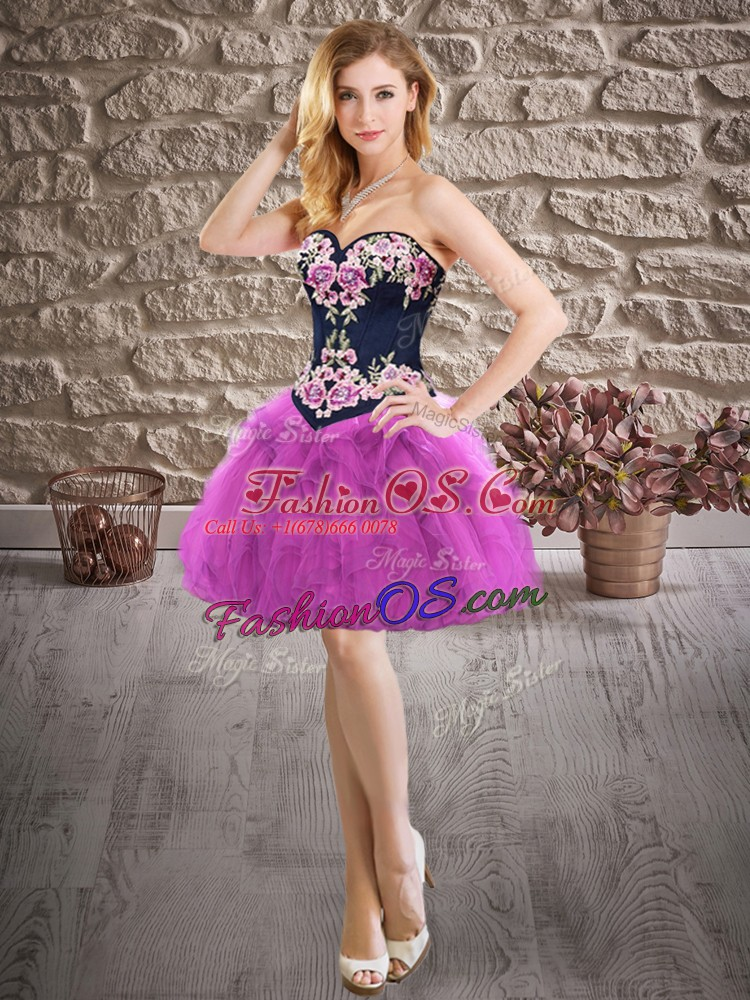 Superior Floor Length Purple Ball Gown Prom Dress Sweetheart Sleeveless Lace Up