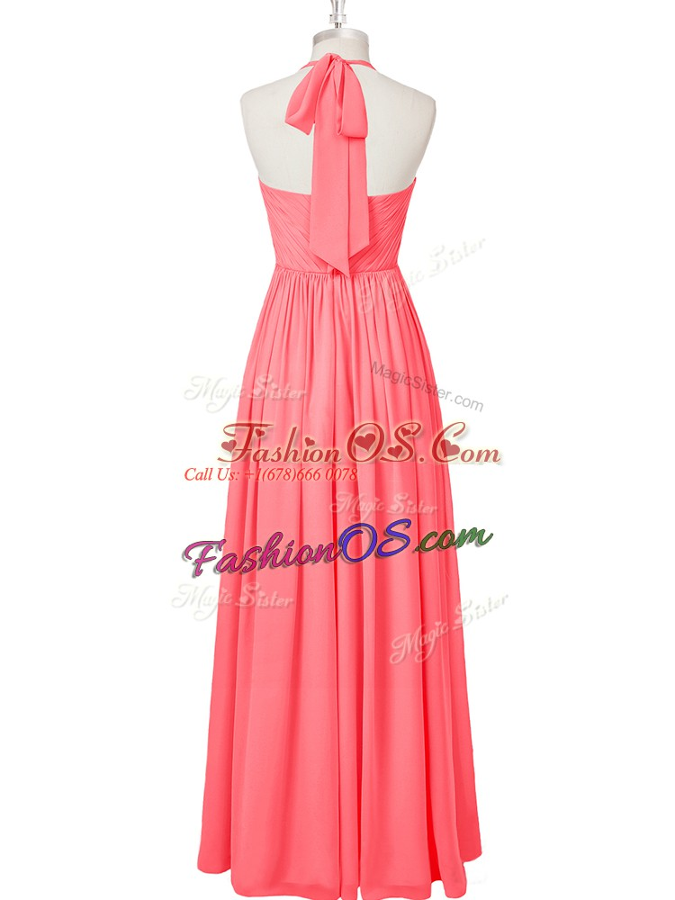 Modest Ruching Prom Party Dress Watermelon Red Zipper Sleeveless Floor Length