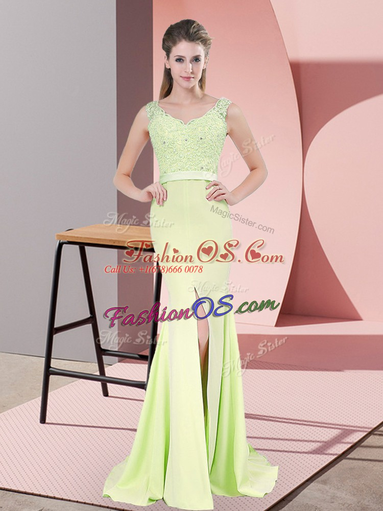 Comfortable Yellow Green V-neck Neckline Beading and Lace Prom Evening Gown Sleeveless Zipper