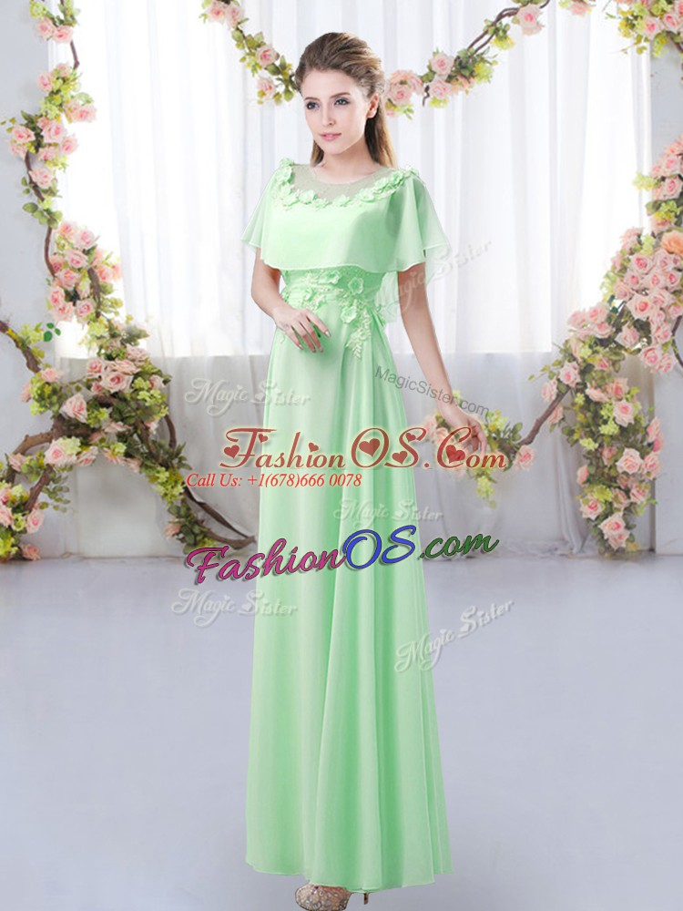 Romantic Green Empire Scoop Short Sleeves Chiffon Floor Length Zipper Appliques Vestidos de Damas