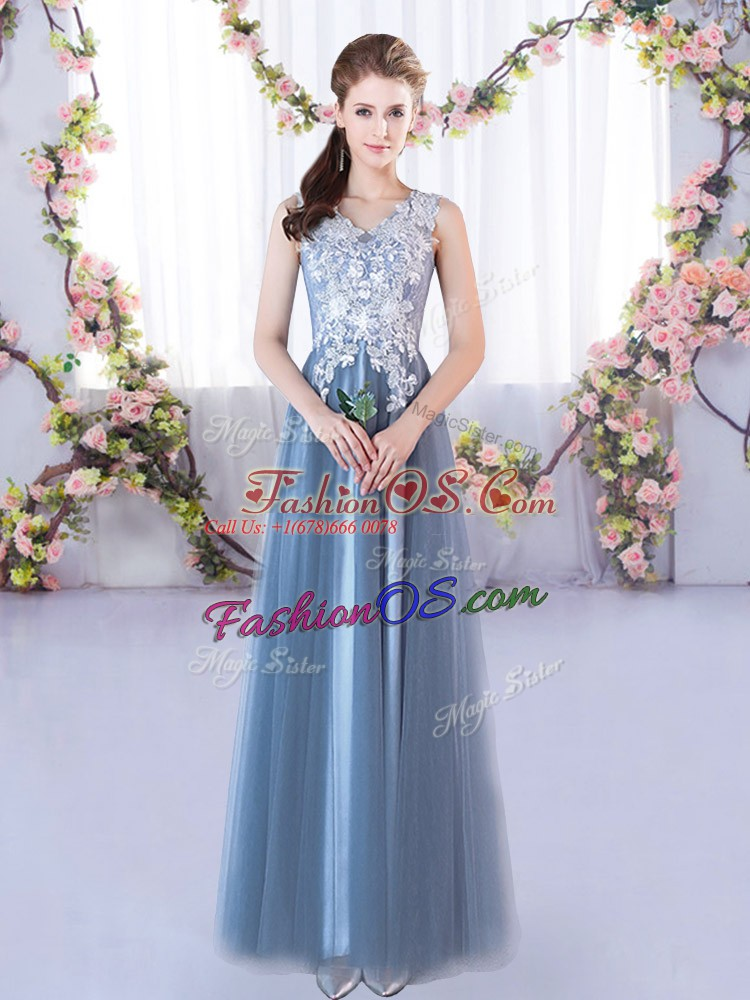 Floor Length Lace Up Quinceanera Court of Honor Dress Blue for Prom and Party and Wedding Party with Lace