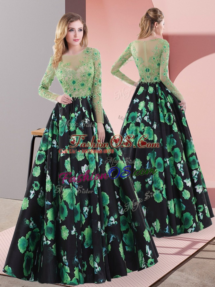 Smart Multi-color A-line Printed Scoop Long Sleeves Appliques Floor Length Lace Up Prom Dresses