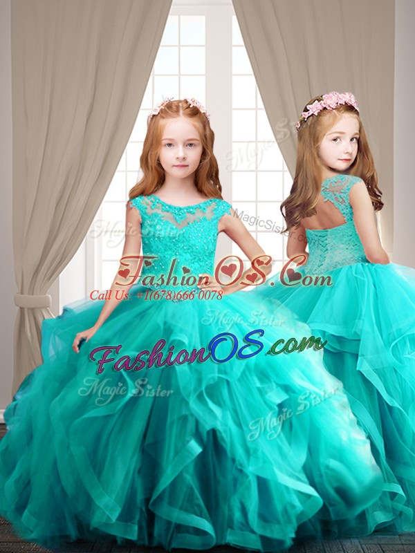 Aqua Blue Cap Sleeves Lace Up 15 Quinceanera Dress for Sweet 16 and Quinceanera
