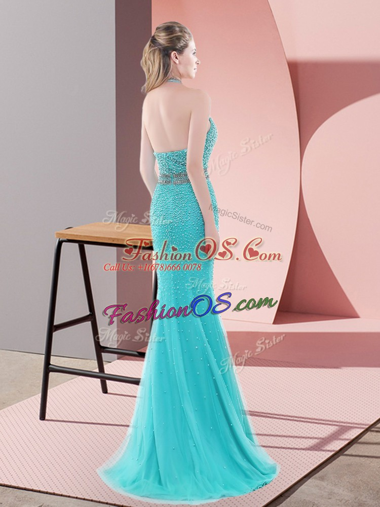 Beading Prom Evening Gown Aqua Blue Backless Sleeveless Sweep Train