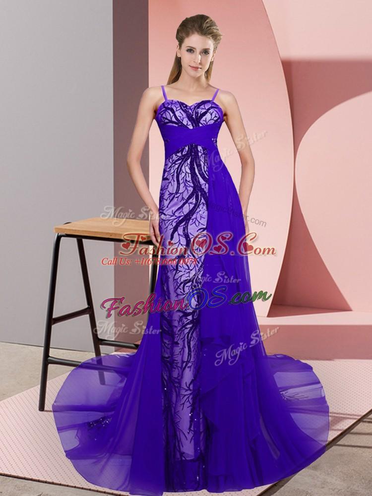Classical Purple Column/Sheath Tulle Spaghetti Straps Sleeveless Beading and Lace Zipper Evening Dress Sweep Train