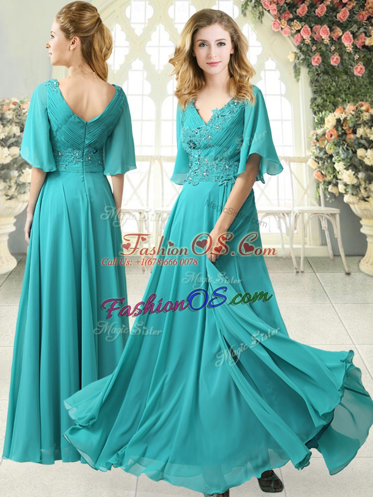 New Arrival Aqua Blue Empire V-neck Half Sleeves Chiffon Floor Length Sweep Train Zipper Beading and Lace Prom Evening Gown