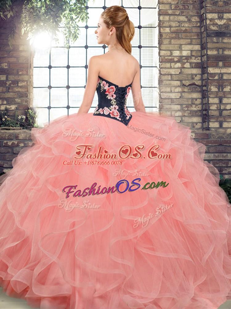 Superior Apple Green Sleeveless Sweep Train Embroidery and Ruffles 15th Birthday Dress