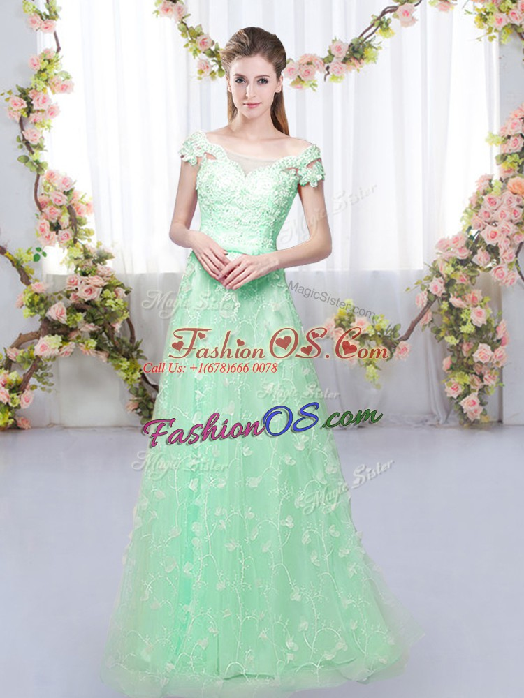 Apple Green Tulle Lace Up Dama Dress Cap Sleeves Floor Length Appliques
