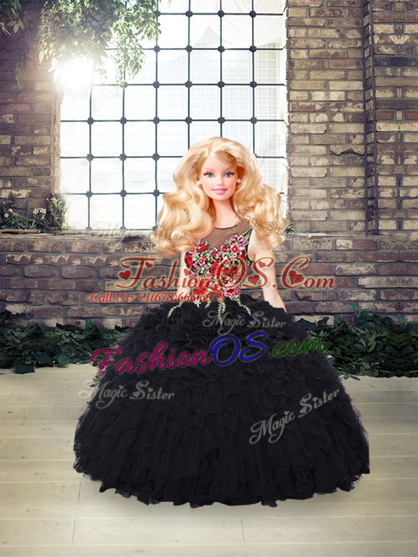 Luxury Floor Length Black 15th Birthday Dress Organza Sleeveless Embroidery and Ruffles