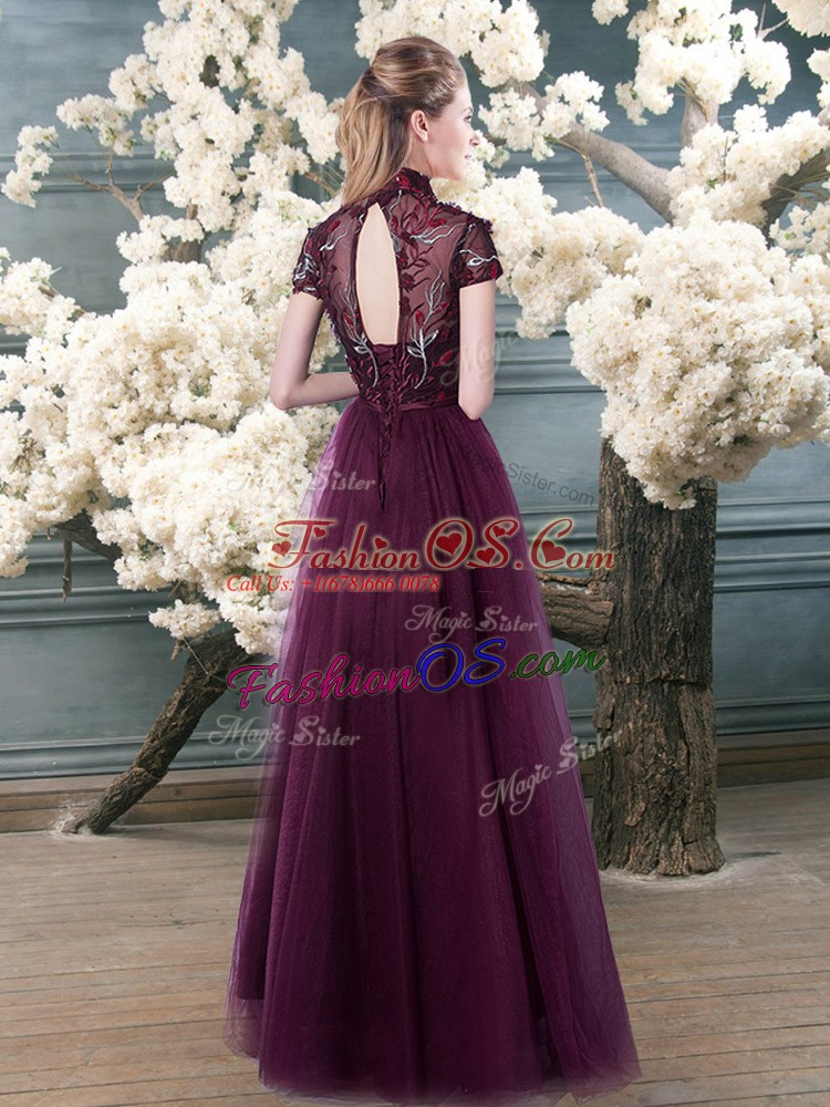 Super Purple Tulle Backless Homecoming Dress Short Sleeves Floor Length Beading and Appliques