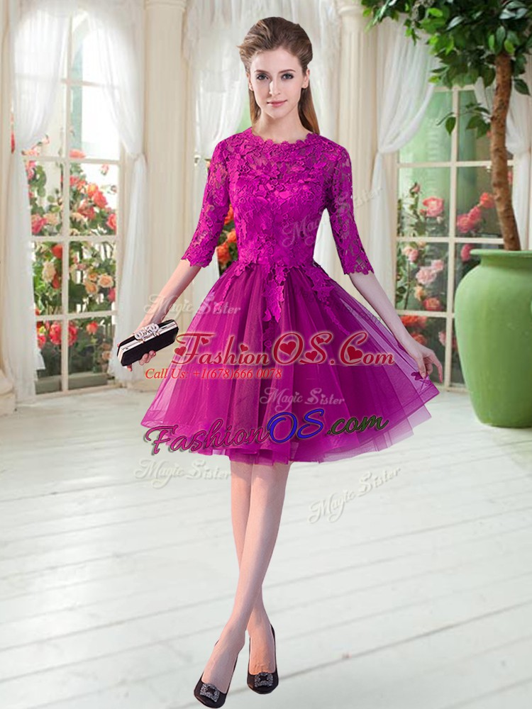 Flirting Half Sleeves Knee Length Lace Zipper Dress for Prom with Fuchsia