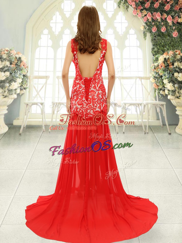 Inexpensive Turquoise Sleeveless Lace Backless Prom Evening Gown