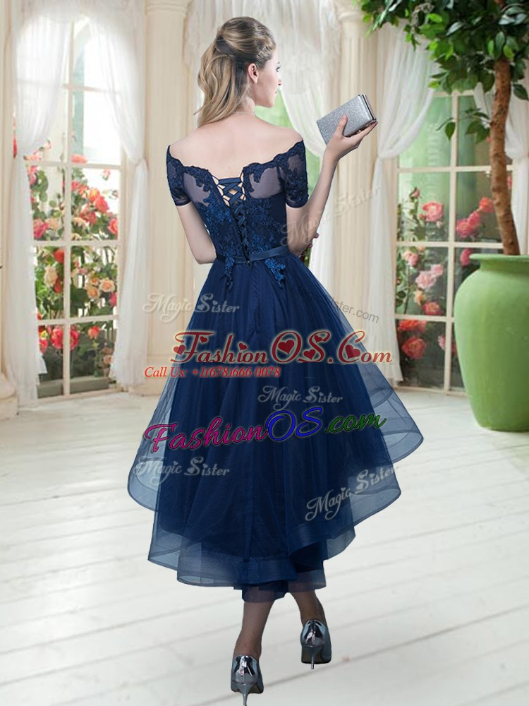 Tulle Off The Shoulder Short Sleeves Lace Up Lace Prom Dresses in Brown