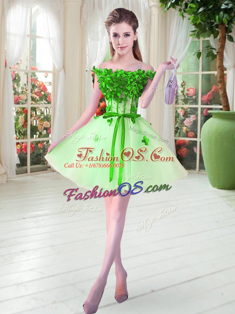 Mini Length Apple Green Prom Party Dress Tulle Sleeveless Beading and Appliques