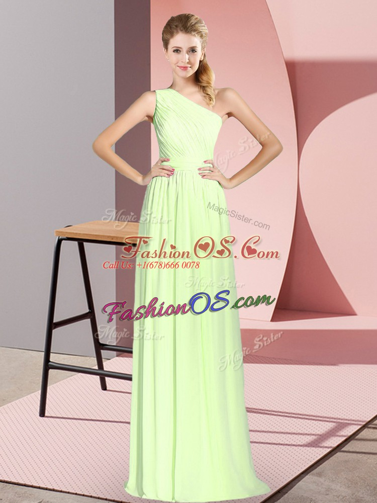 Yellow Green Empire Chiffon One Shoulder Sleeveless Ruching Floor Length Lace Up Prom Gown