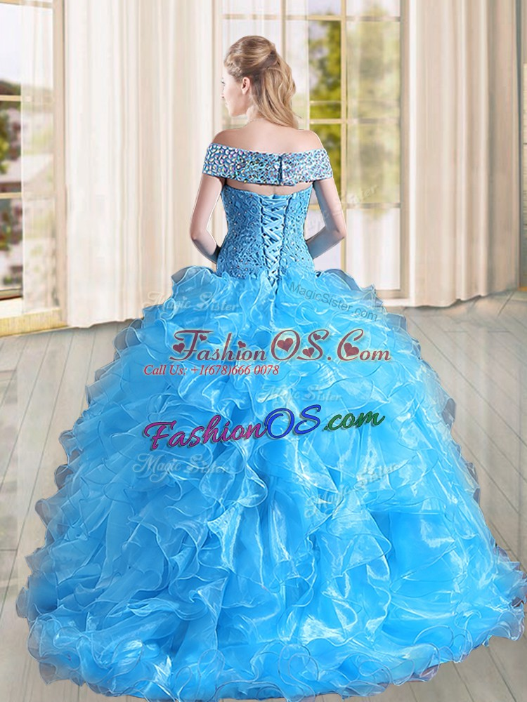Fuchsia A-line Off The Shoulder Sleeveless Organza Sweep Train Lace Up Beading and Lace and Ruffles Quinceanera Gowns
