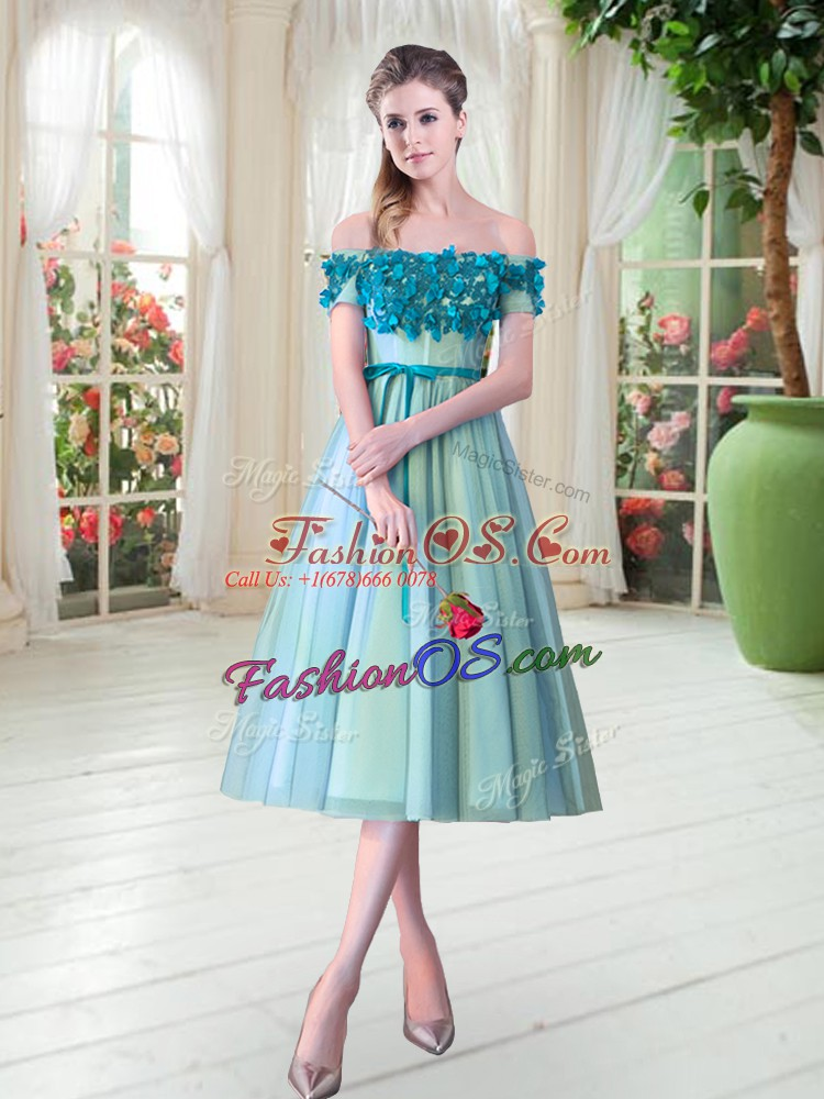 Tea Length Lace Up Prom Dresses Aqua Blue for Prom and Party with Appliques