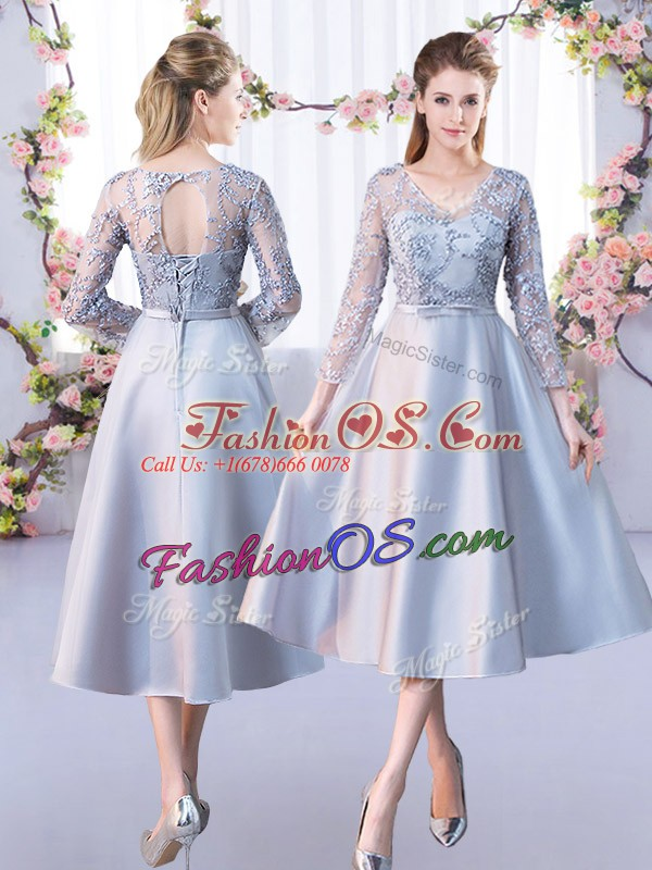 Trendy 3 4 Length Sleeve Lace Lace Up Dama Dress