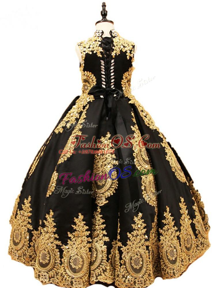 Custom Fit High-neck Sleeveless Satin Little Girls Pageant Dress Wholesale Beading Lace Up