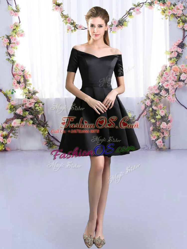 Exceptional Black Zipper Quinceanera Court Dresses Ruching Short Sleeves Mini Length