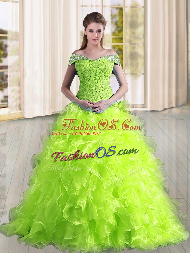 Latest Yellow Green Lace Up Quinceanera Gown Beading and Lace and Ruffles Sleeveless Sweep Train