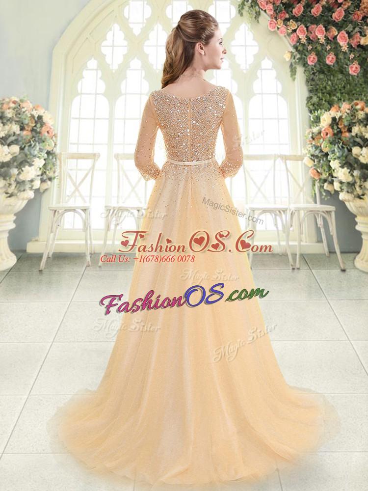 Champagne Prom Dress Scoop 3 4 Length Sleeve Sweep Train Zipper