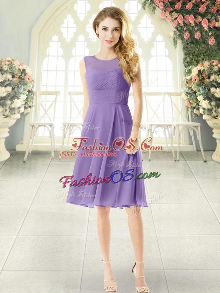 Ruching Dress for Prom Lavender Zipper Sleeveless Knee Length