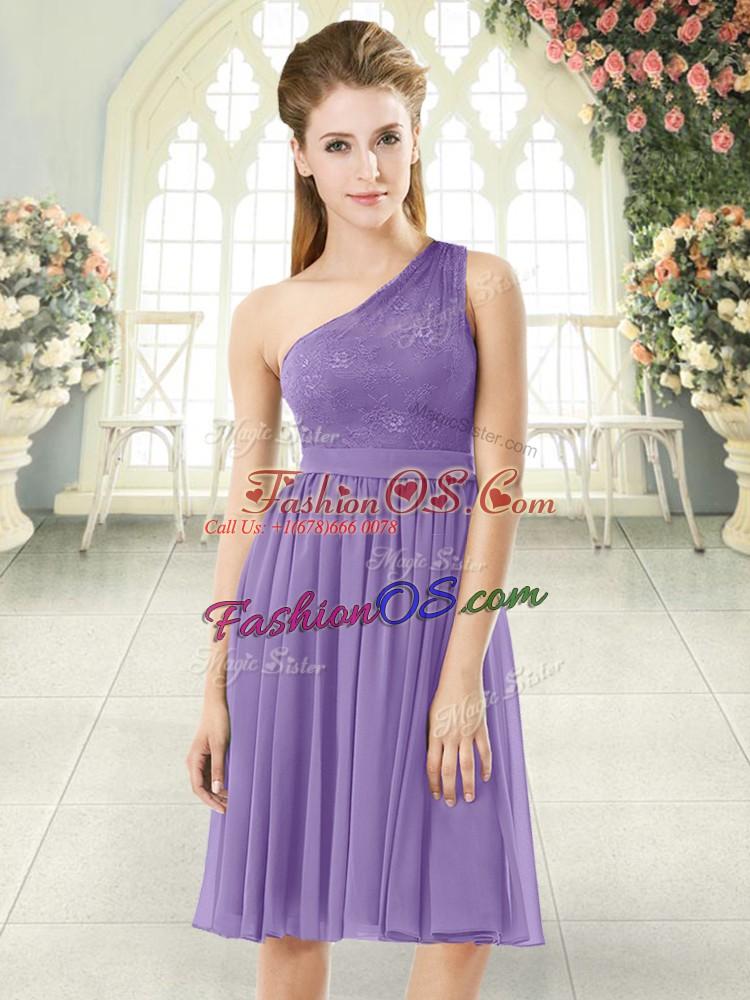 Empire Dress for Prom Lavender One Shoulder Chiffon Sleeveless Knee Length Side Zipper