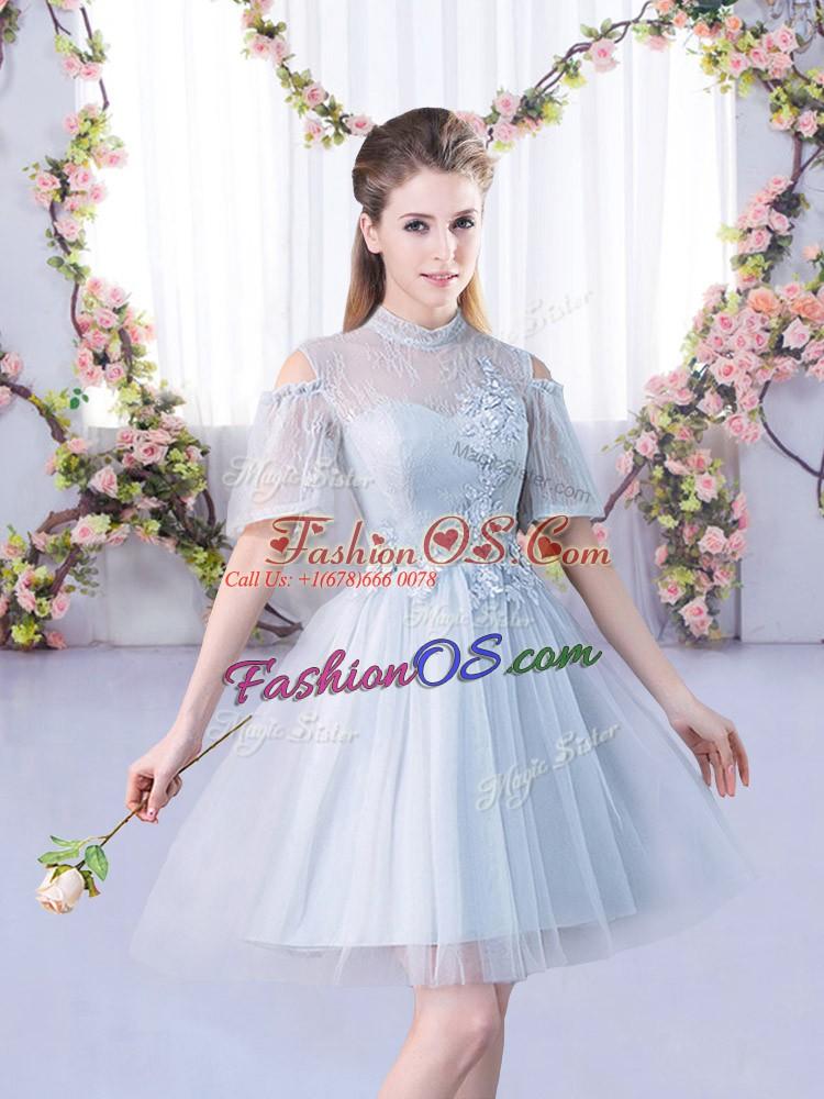 Superior High-neck Short Sleeves Lace Up Dama Dress Grey Tulle