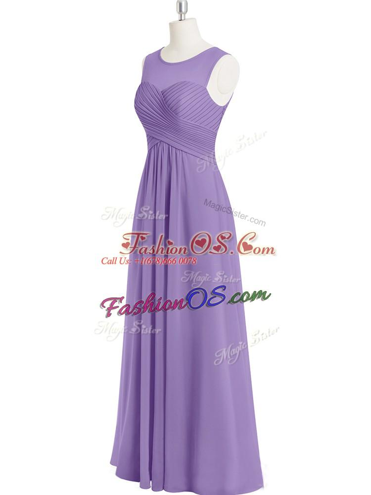 Scoop Sleeveless Chiffon Prom Gown Ruching Zipper