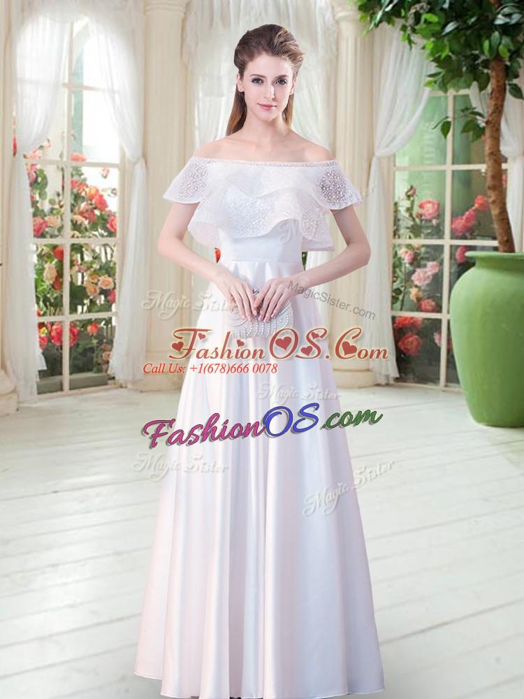 Empire Dress for Prom White Off The Shoulder Satin Short Sleeves Floor Length Zipper