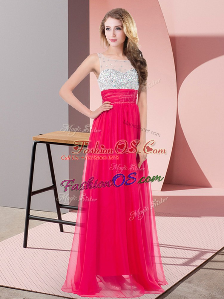 Fitting Coral Red Scoop Neckline Sequins Prom Gown Sleeveless Side Zipper